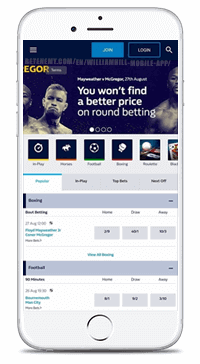 home page of mobile william hill